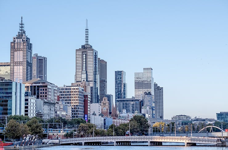 An image of the Melbourne city skyline for an article about the AstraZeneca vaccine in Melbourne.