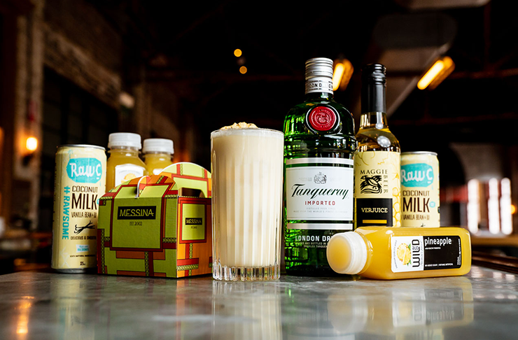 Several ingredients placed next to each other for a Piña colada.