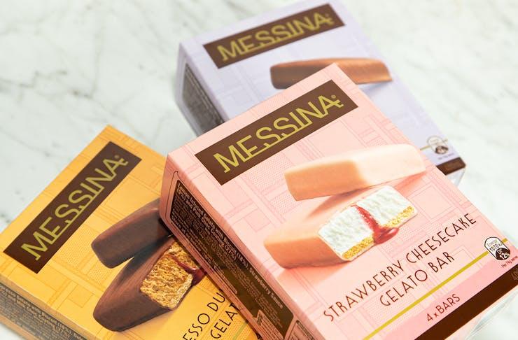 Three boxes of Messina Gelato Bars.