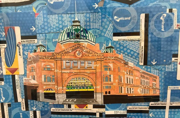 Artwork of Flinders Street Station in Melbourne created entirely out of Metcards.