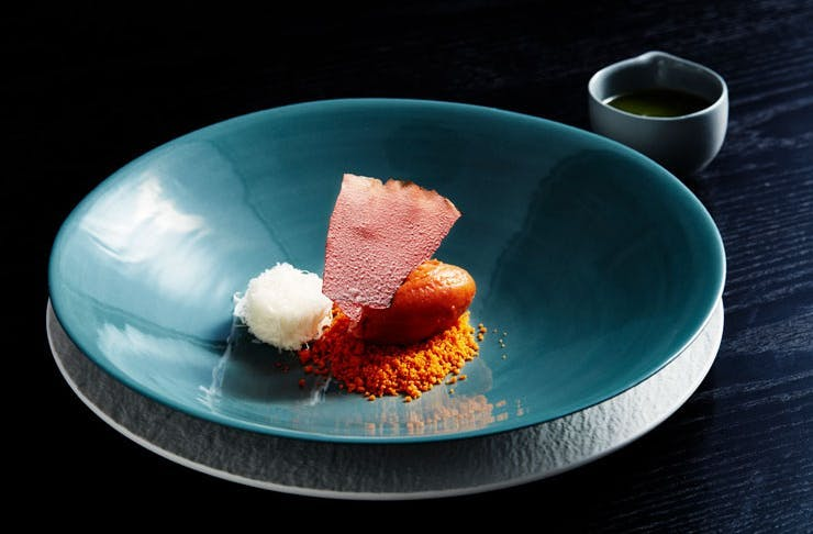 The texture of tomato dish at Metisse restaurant in Sydney.