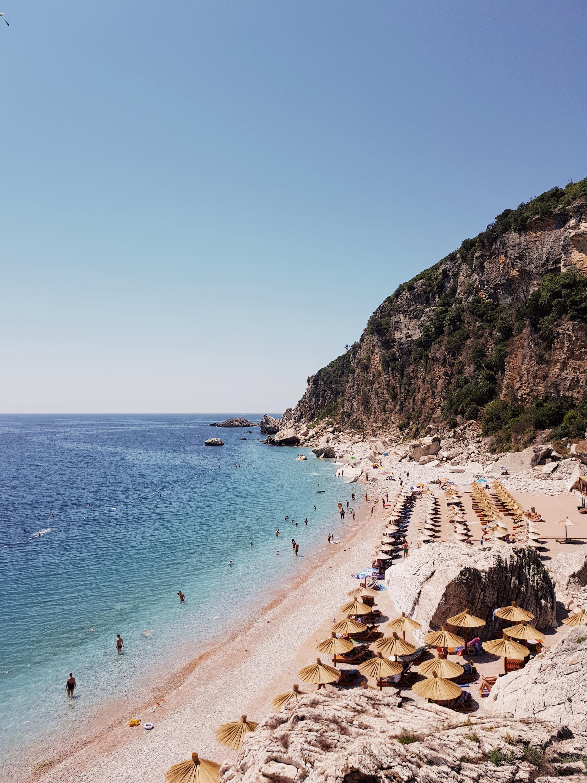 a cliffside beach in montenegro