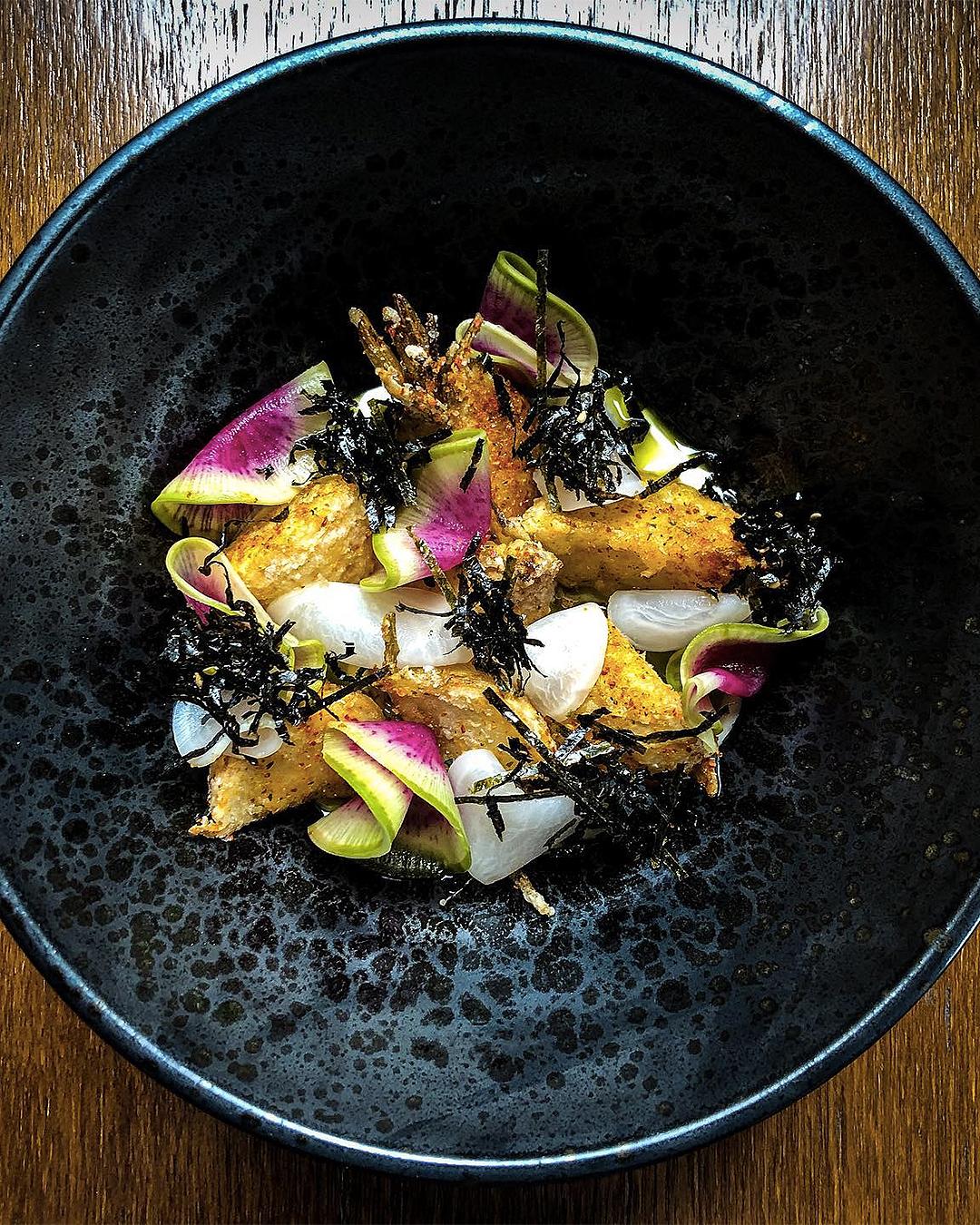 karaage turnip, creme fraiche, sorrel, shichimi, seaweed is served up at Moiety.