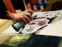 This Spray And Sip Class Lets You Freestyle Spray Paint On Supersize Canvases