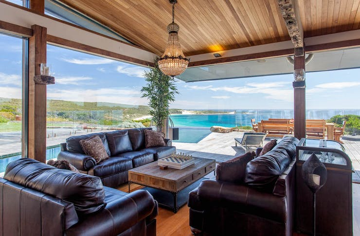 stunning beach view from one of the most beautiful holiday homes in the south west