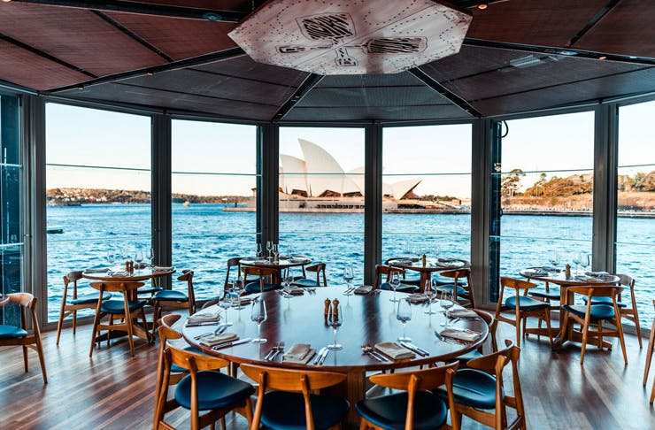 The dining room at The Squires Landing, which looks out over Sydney Harbour and the Opera House.