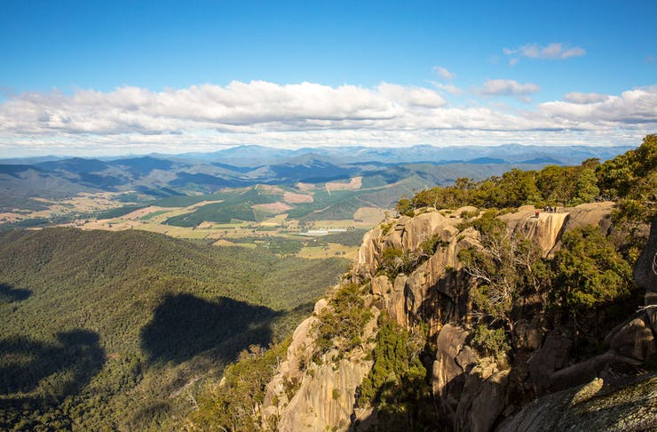 A view from a lookout on Mount Buffalo looking to the valley below.