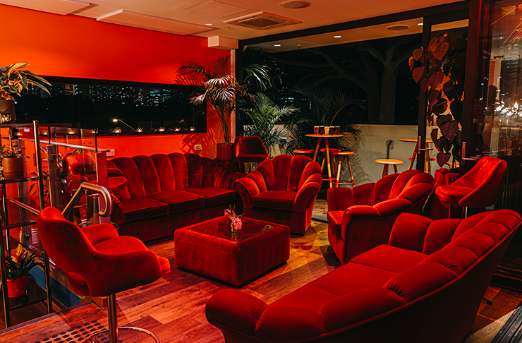 Velvet red couches surrounded by green plants in the main dining are of Mr Brownie.
