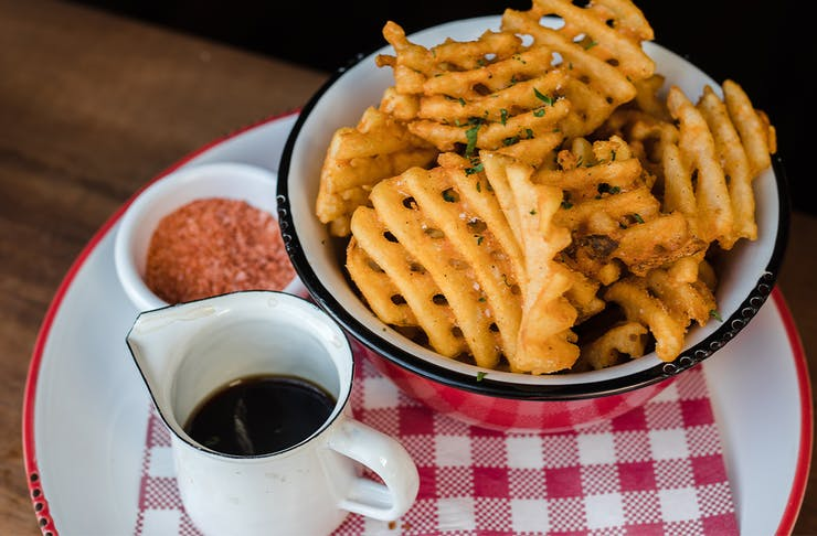 waffle fries with sauce