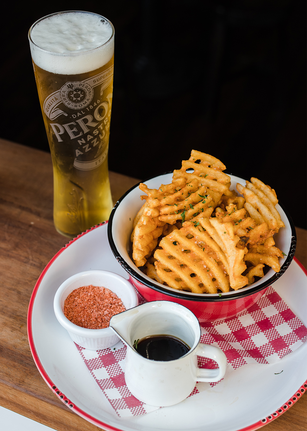 waffle fries and a beer