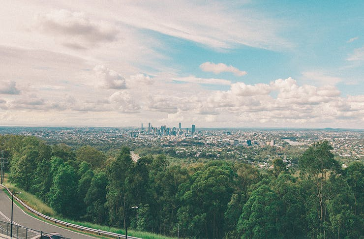 View from a lookout at Mt Coot-tha to the Brisbane city skyline in the distance