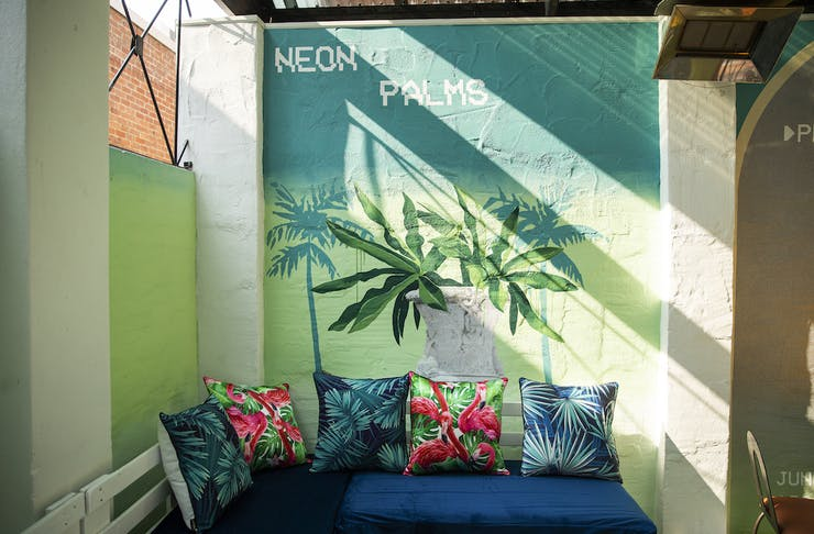 Bright courtyard at Neon Palms