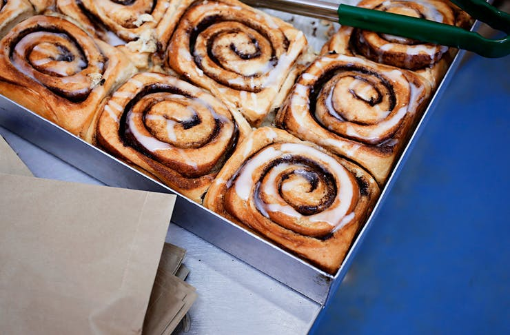 a tray of cinnamon scrolls from Little Loaf Bakery