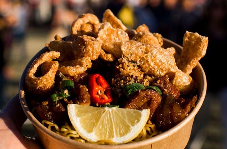 Pork noodles at the Night Noodle Markets in Sydney.