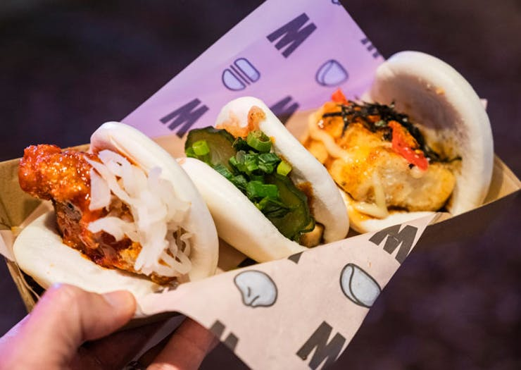 Bao buns at the Night Noodle Markets in Sydney