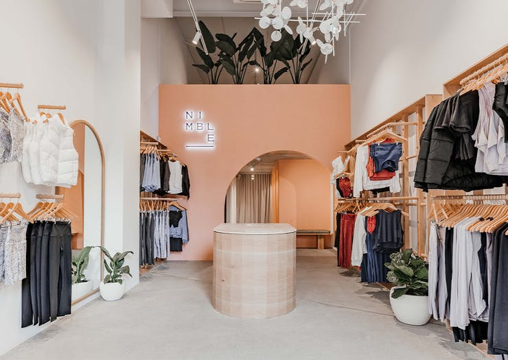 a wide view of the interior of the nimble store