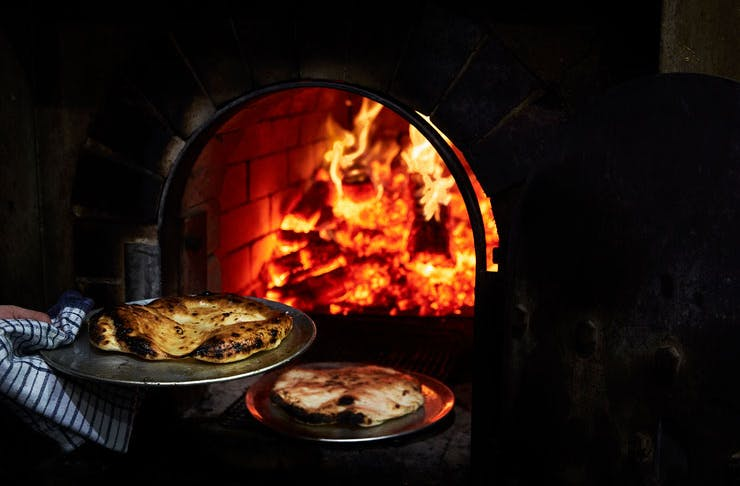 Wood fire oven at NOMAD restaurant in Surry Hills.