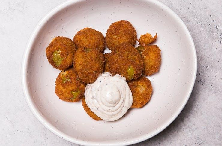 bowl of deep fried olives