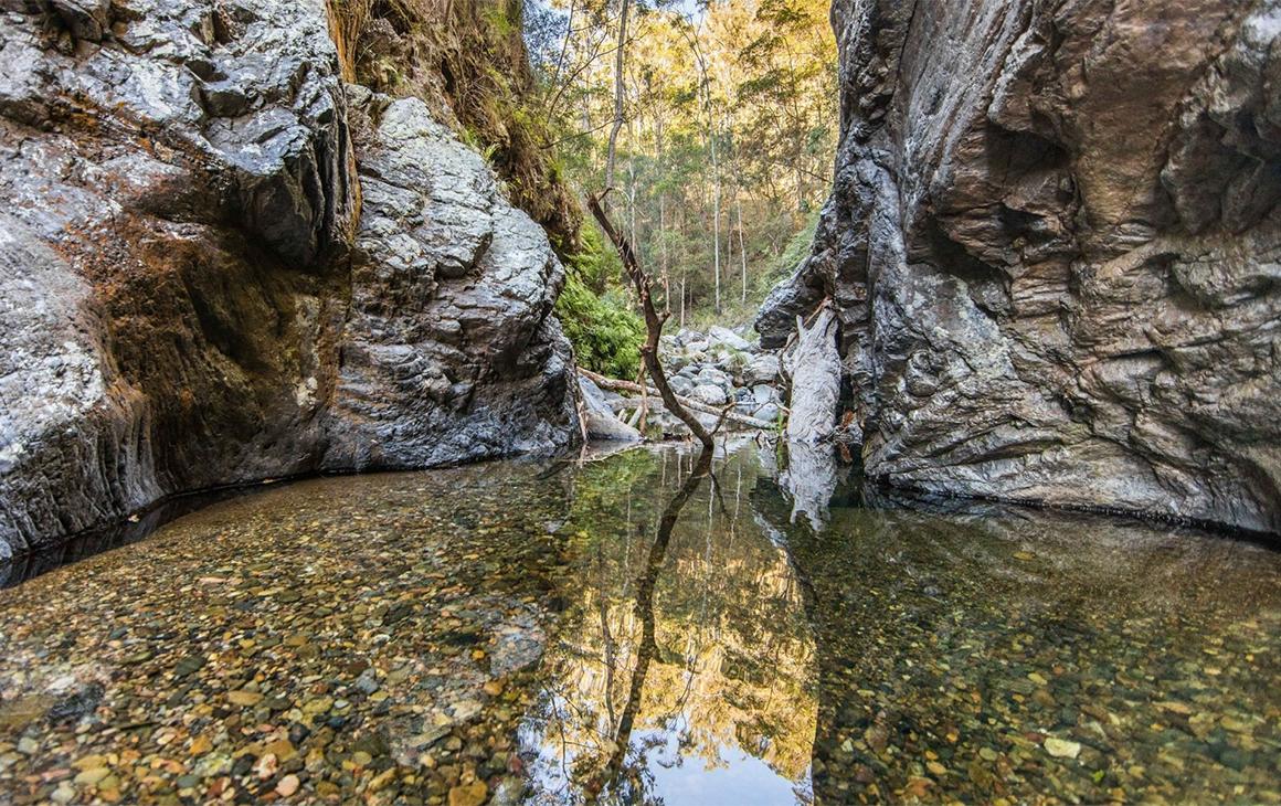 a calm creek bed between rocks