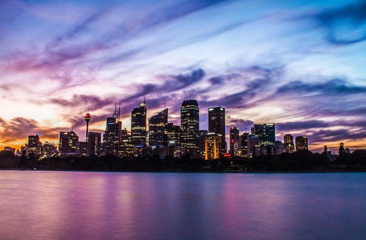 An image of the Sydney city skyline at dusk.