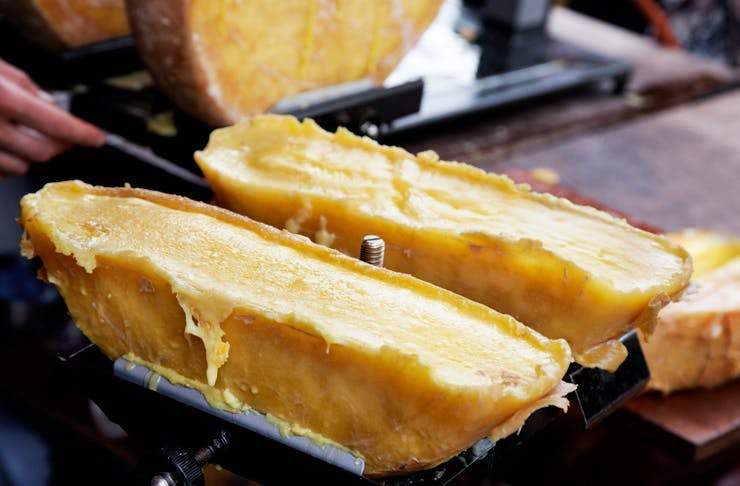 Two wheels of French raclette cheese.