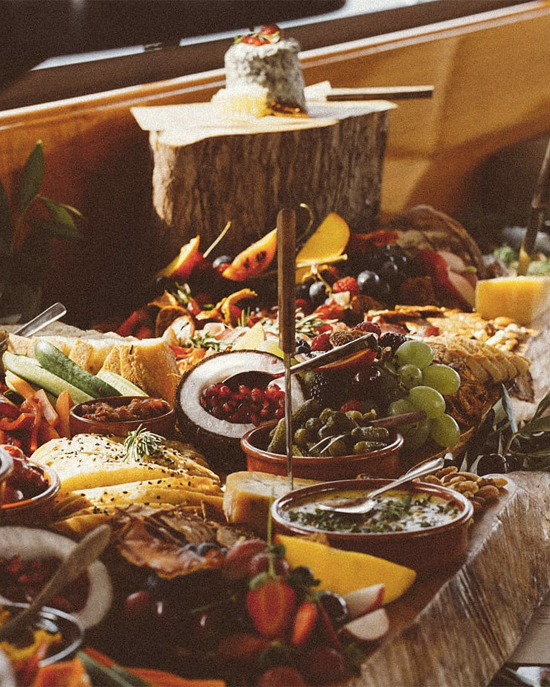 The grazing board piled high with all sorts of goodies from On Board Kitchen.