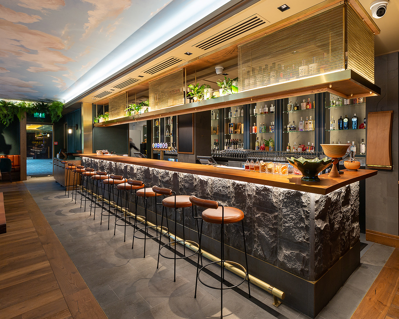 The stunning new bar at Our Land Is Alive at the Cordis hotel.