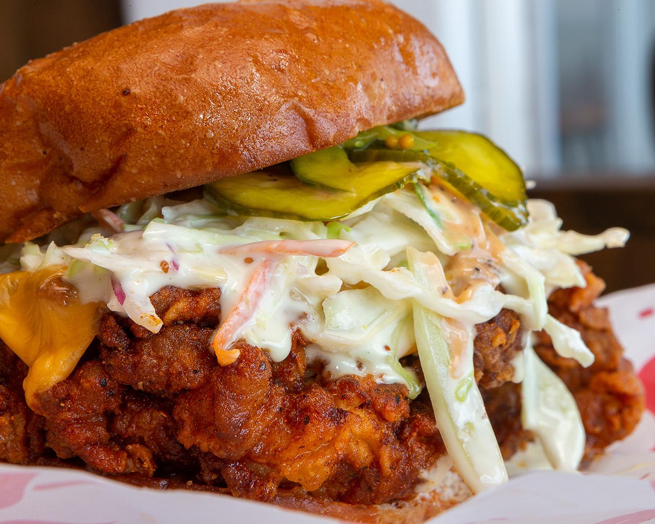 The behemoth baller sandwich at Peach's Hot Chicken