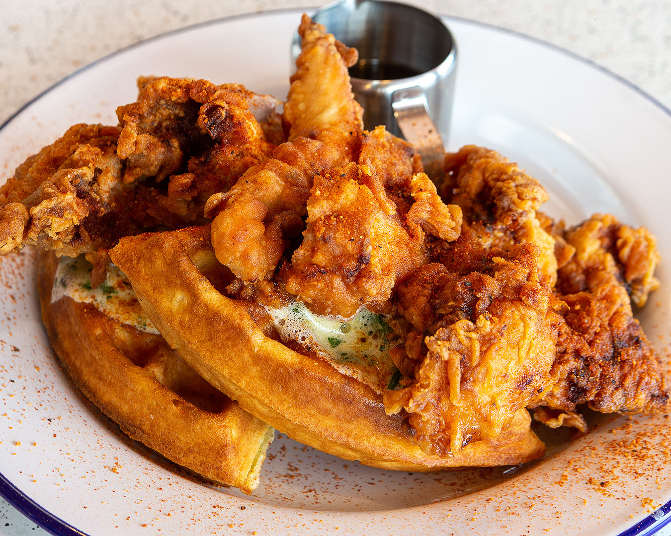 Chicken and waffles at Peach's hot chicken.