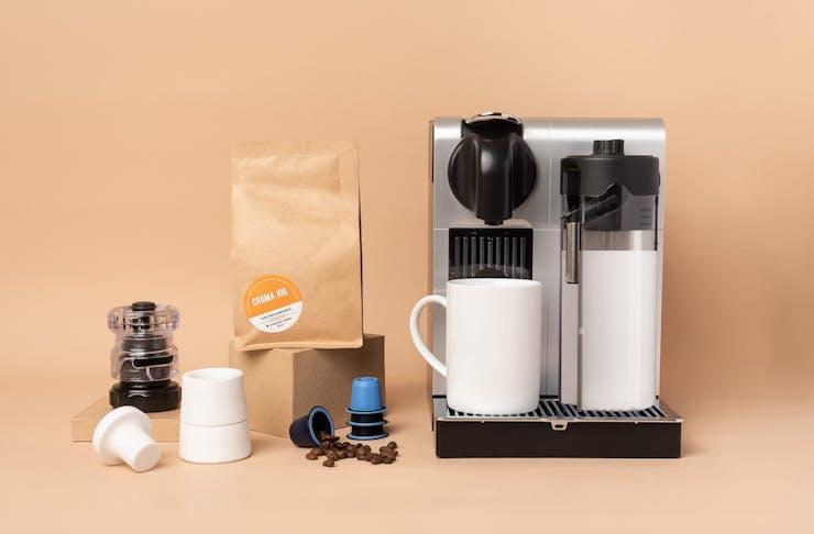 Crema Joe products with coffee machine