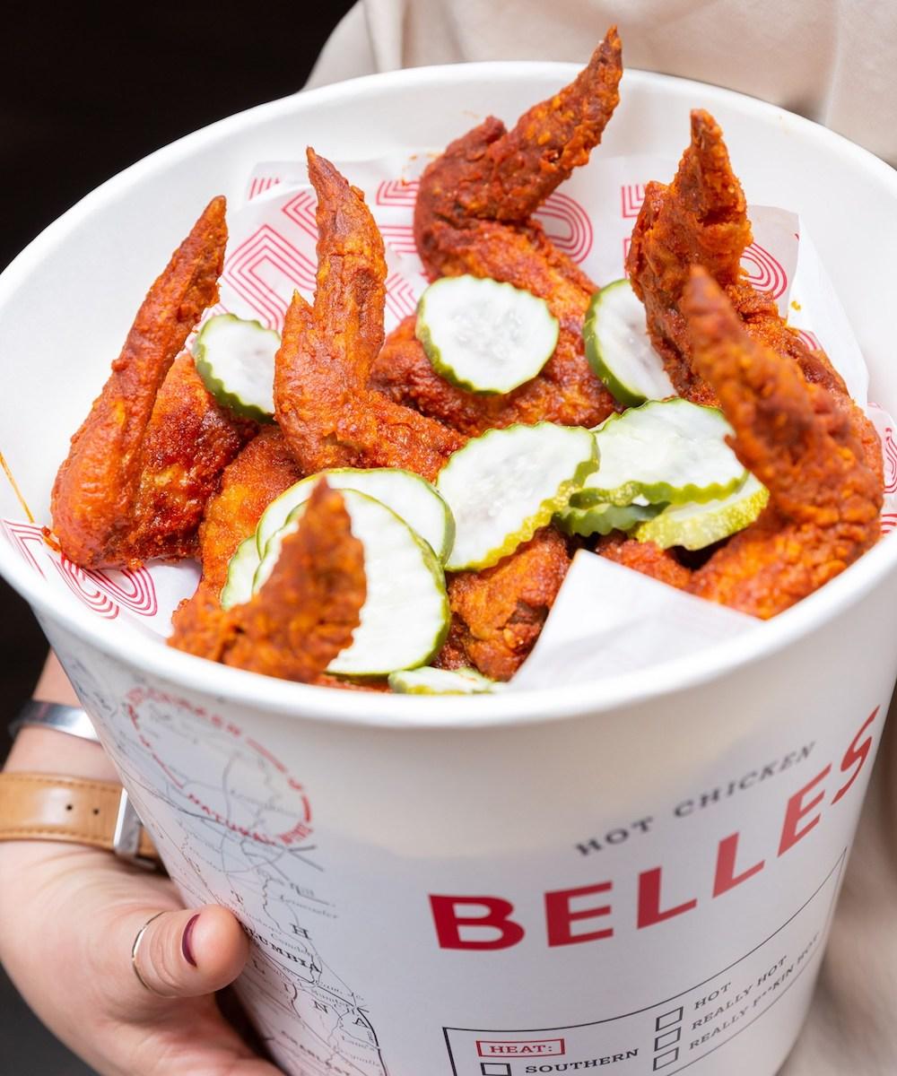 A bucket of fried chicken