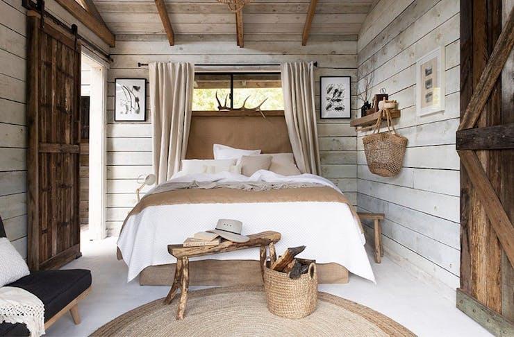 interior of a barn inspired bedroom