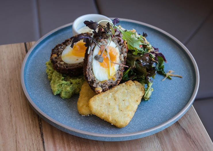 a scotch egg with sides