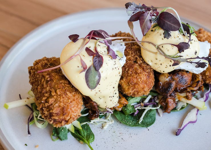 plate of croquettes and poached eggs