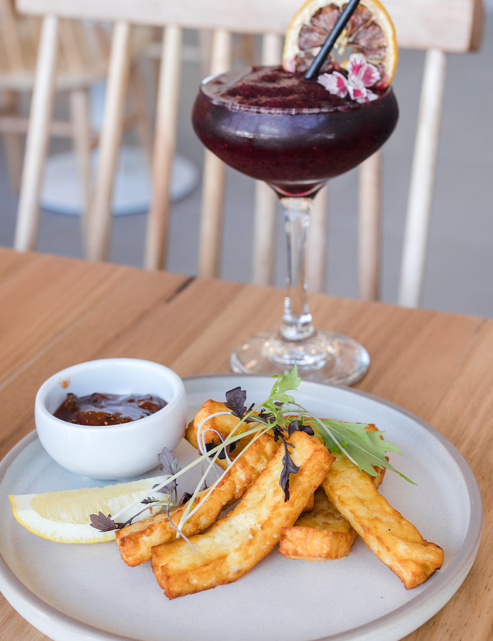 haloumi chips and a cocktail