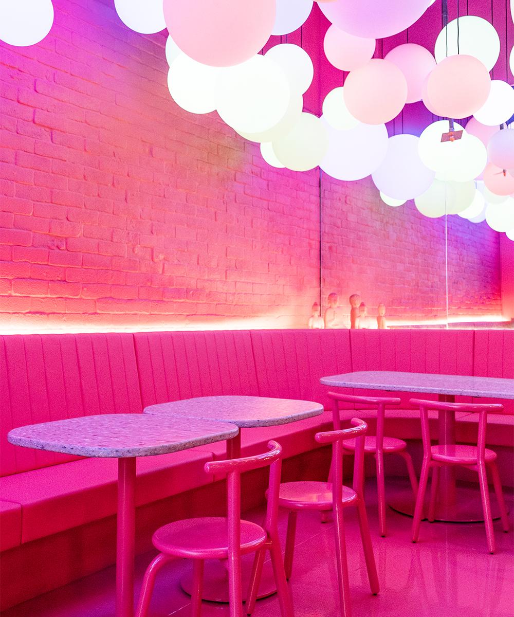 an all pink restaurant interior