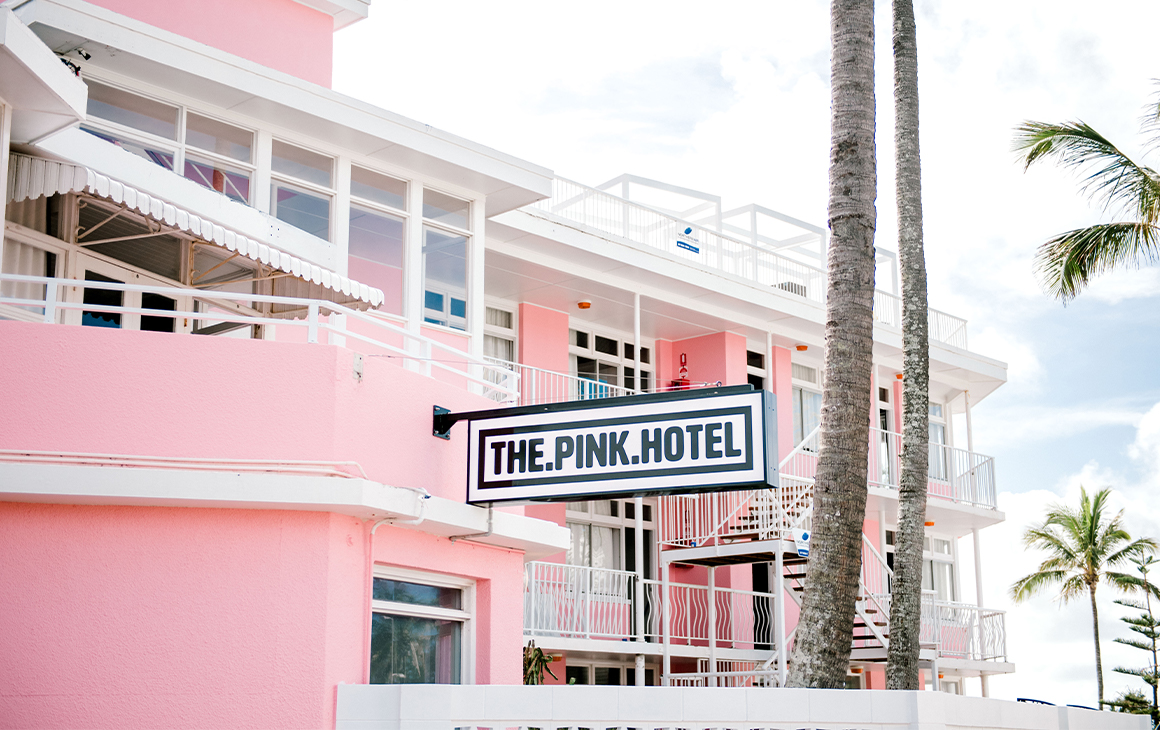 the pink facade of the pink hotel