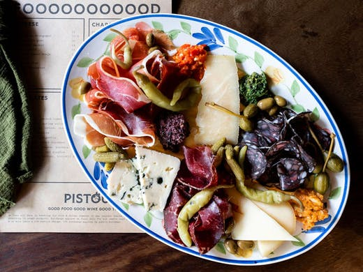 A brightly coloured plate of cheese and charcuterie from Pistou, Newtown.