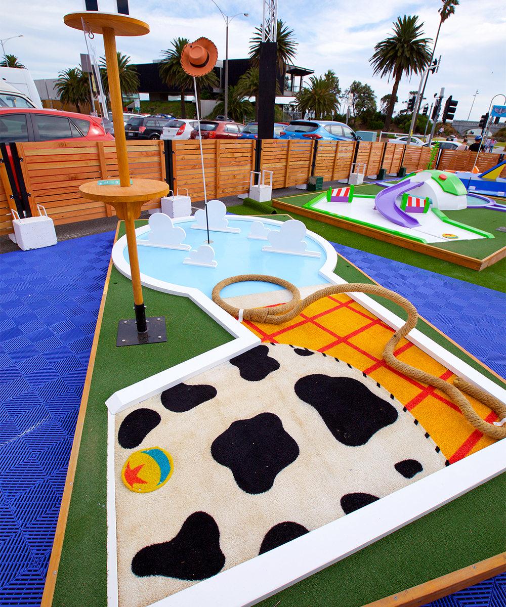 a toy story themed mini golf course