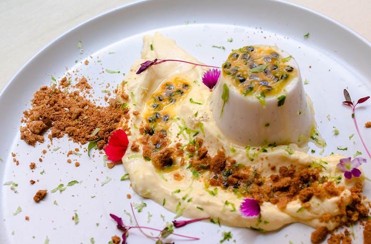 a pannacotta with mango mousse