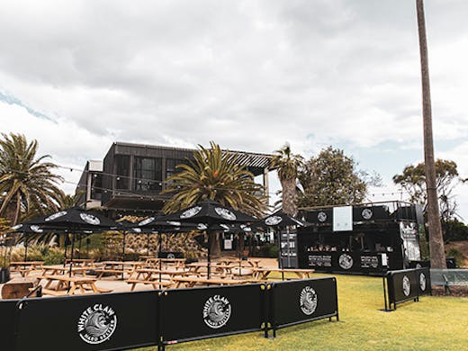 A beachside beer garden at the St Kilda foreshore.