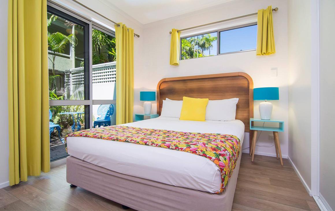a colourful motel room