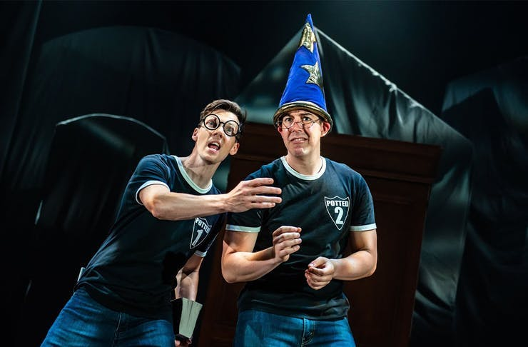 Actors performing Potted Potter.