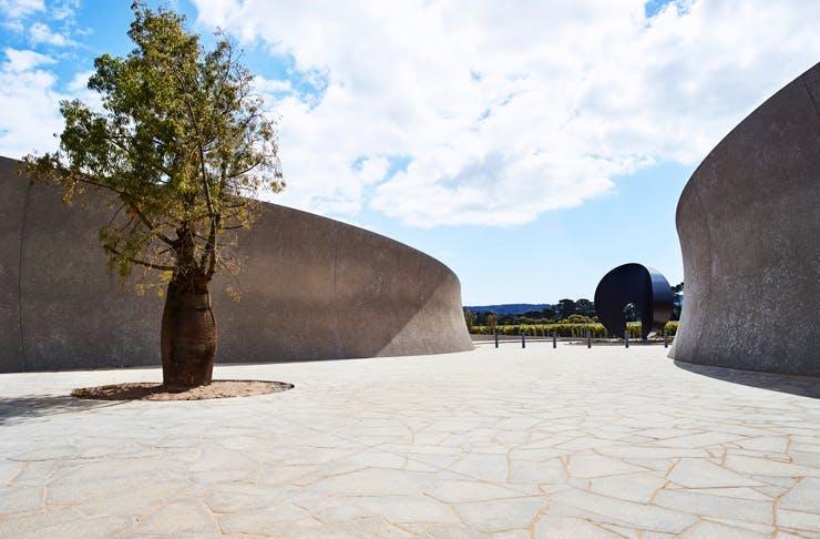 The large sculpture garden at Pt Leo Estate.