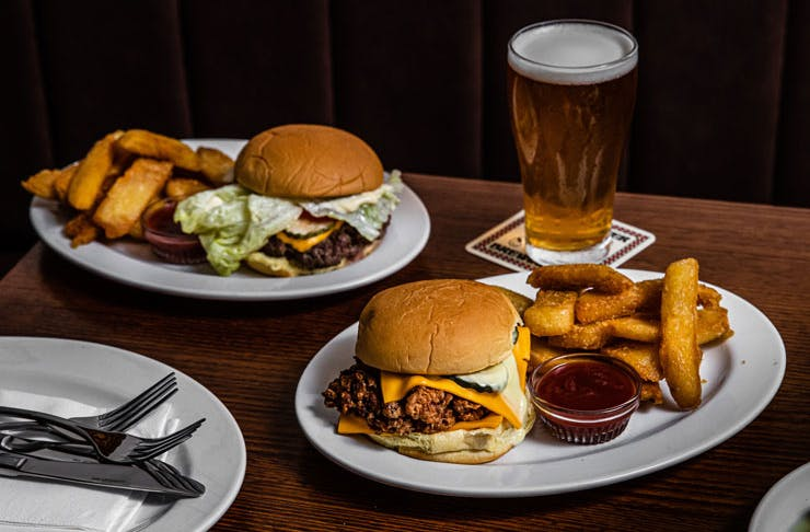 Burgers and chips from Pub Life Kitchen