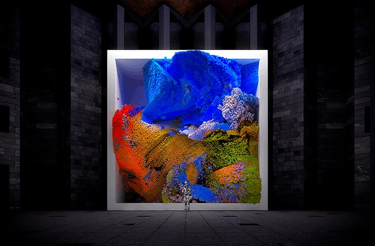 A large digital artwork with liquid-like animations.