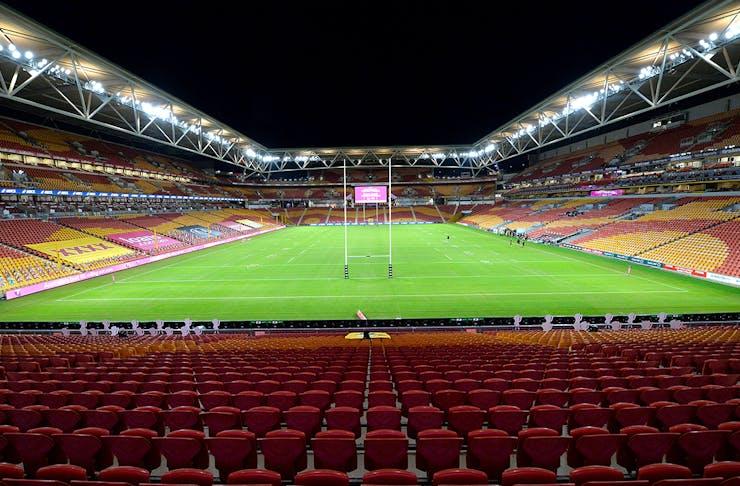 Inside of Suncorp Stadium, empty of people.