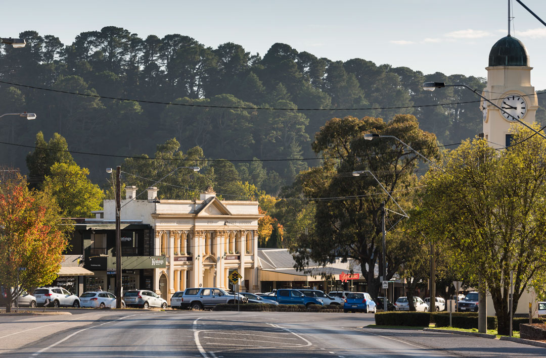 The main street of Woodend, Victoria.