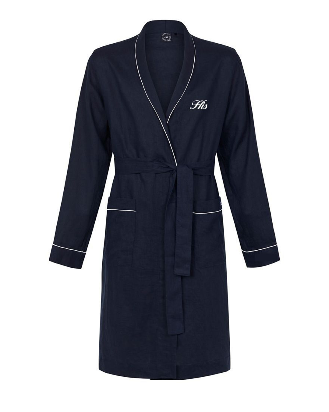 A navy blue knee-length linen robe, monogrammed 'His'
