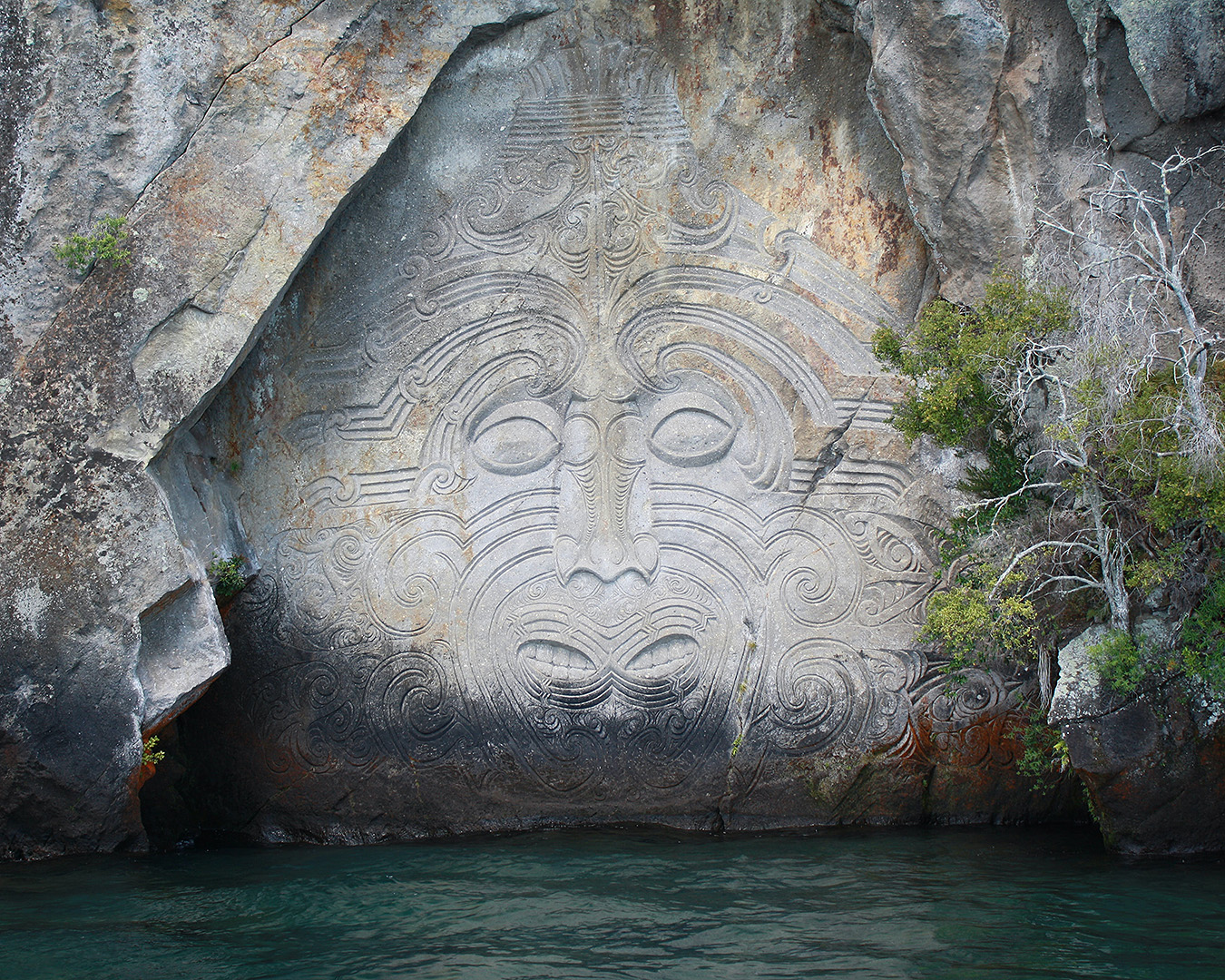 The famous rock carving at Lake Taupo.